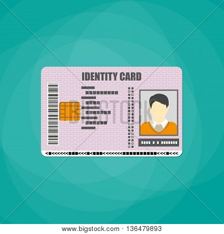 Id card. identity card, national id card, id card with electronic chip. vector illustration in flat design on white background
