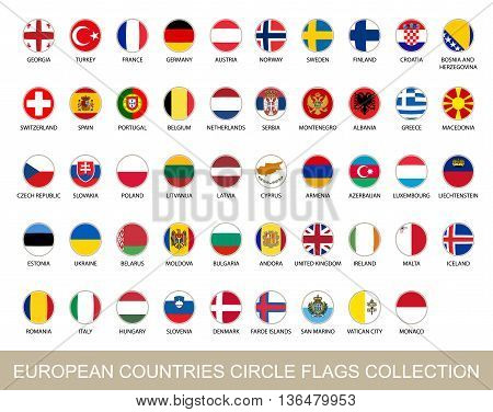 European Countries Circle Flags Collection. Circle Flags with Shadow. European flags. Vector Illustration.