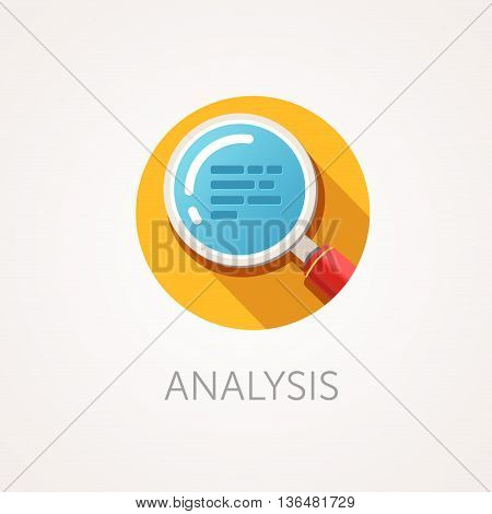 Analysis Icon. Flat design style with long shadow. Research or scan icon. Magnifying glass icon with zoom text. App icon