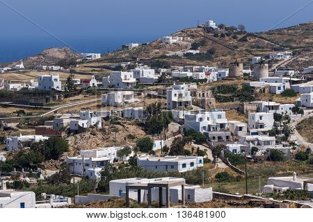 Panorama of Town of Ano Mera, island of Mykonos, Cyclades, Greece