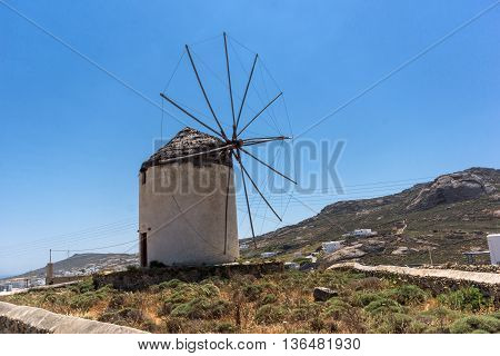 White windmill in Town of Ano Mera, island of Mykonos, Cyclades, Greece