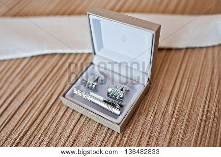 Set Of Groom. Cuff Links On Silver Box