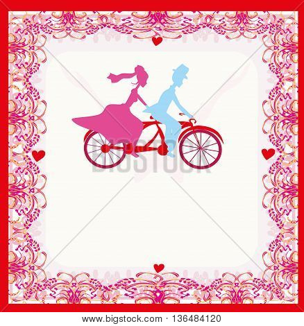 wedding invitation with bride and groom riding tandem bicycle , vector illustration