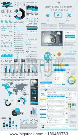 Elements of Infographics with buttons and menus.