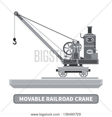 Vector movable crane in flat style. Isolated on white.