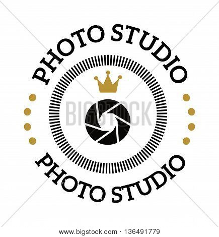 Photography and photo studio logo badge. Vector photographer logo design element, business sign, identity, label badge. Photo studio branding objects business photographer logo.