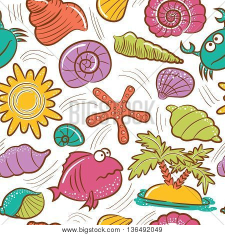 Vector doodle summer beach seamless pattern with fish crab and seashells