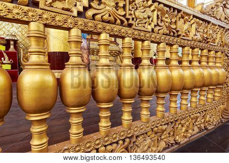 Bago, Myanmar - April 26: The Palace Of The King In Myanmar In The Past. Kambawzathardi Golden Palac