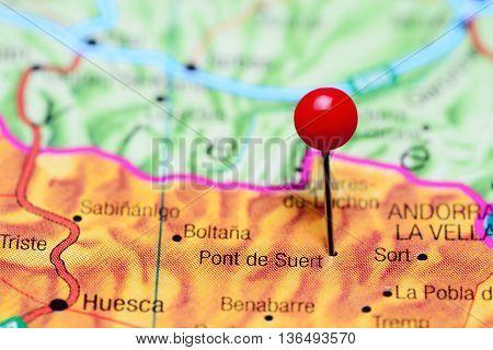 Pont de Suert pinned on a map of Spain