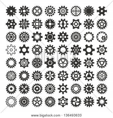 Vector black silhouette gears icons set machine wheel mechanism machinery mechanical, technology technical sign. Engineering symbol, round element gears icons. Gears icons work concept, industrial design.