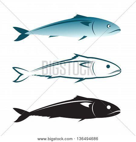 Vector image of an mackerel design on white background. Mackerel Icon. Vector mackerel for your design.