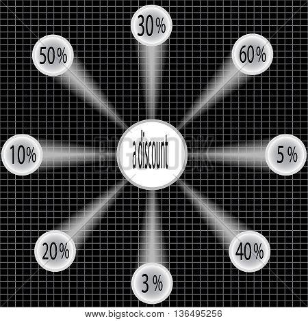 Paper 10% discount, 30% discount, 40% discount, 50% discount, 5% discount, 3% discount 60% discount 20%, labels - Labels with string