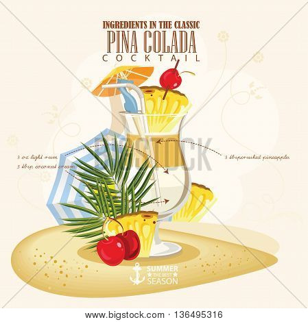 Vector illustration of popular alcoholic cocktail. Pina Colada club alcohol shot.
