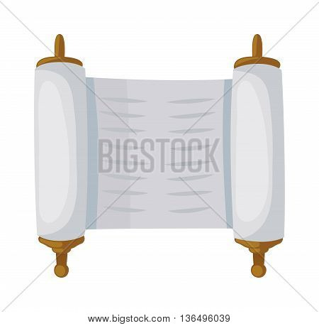 Torah sacred scroll flat style papyrus israel tradition. Jewish torah sacred scroll flat vector illustration book, Jewish old scroll. Parchment sacred scroll religious torah jewish hebrew open bible.