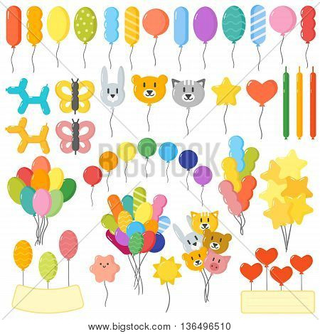 Color glossy balloons mega set vector illustration. Round entertainment balloons holiday festival happy gift. Balloons beautiful toy party day celebrate, isolated helium color carnival tool.