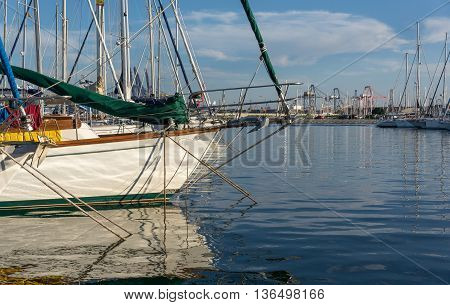 Prow of a sailing boat in the valencia harbor