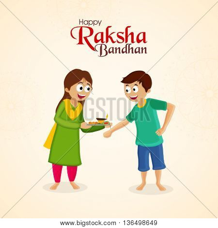 Cute Brother and Sister enjoying and celebrating on occasion of Raksha Bandhan, Elegant Greeting Card design for Indian Traditional Festival celebration.