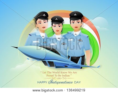 Proud of India, Creative illustration of Three Indian Women Fighter Pilots and Fighter Plane on Glossy National Flag Colour background, Vector illustration for Happy Independence Day celebration.