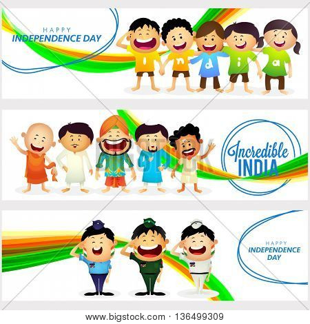 Creative Website header or banner set with Cute Characters as Kids wearing t-shirts making word India, Unity in Diversity of Incredible India and Saluting Armed Force Officers.