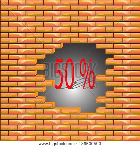 50 percent discount symbol icon on the brick wall, the collapse of prices, vector illustration