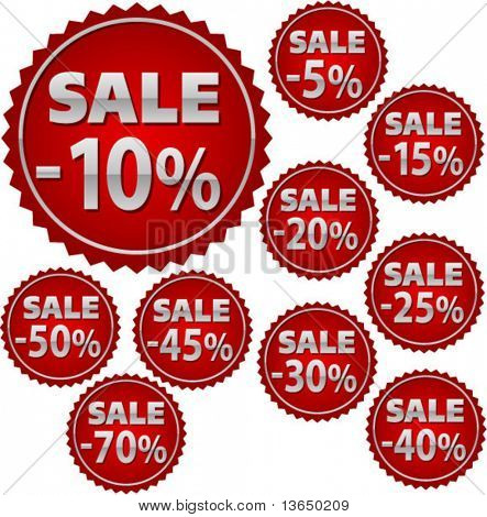 set of discount shop buttons. vector
