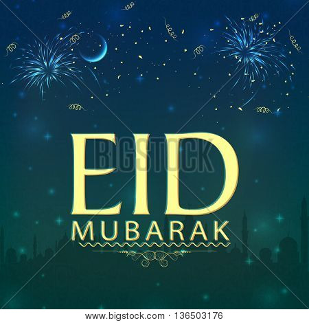 Eid Mubarak Greeting Card design, Beautiful Islamic Background with Mosque silhouette, fireworks and glowing moon, Creative vector illustration for Muslim Community Festival celebration.