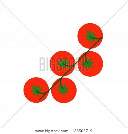 Cherry Tomato With Leaf Arugula Vector Illustration. Top View Cherry Tomato On White Background.