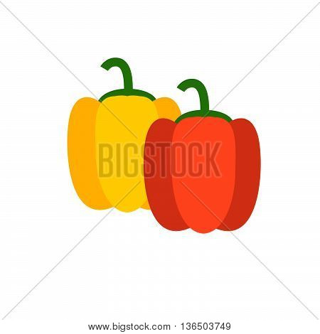 Bell Pepper Vector Illustration. Yellow And Red Bell Pappers Sign. Bulgarian Pepper. Vegetable For S