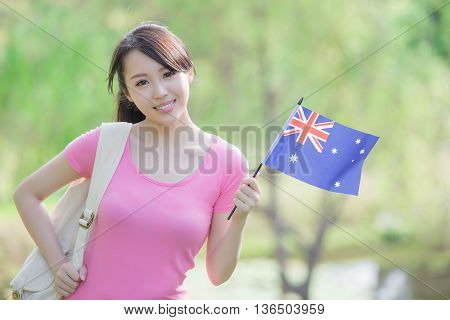 Happy College Student girl hold australian flag with nature white background asian