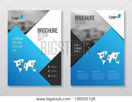 Blue Business Brochure Design. Blue Annual Report Vector Illustration Template. A4 Size Corporate Bu