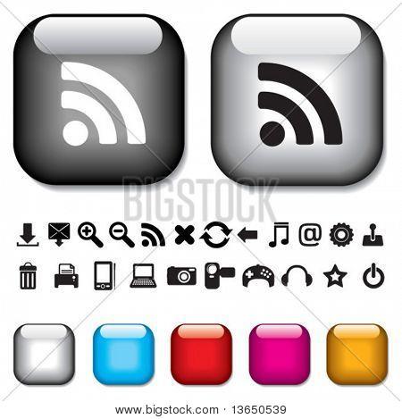 Vector. Aqua buttons, glossy web elements.