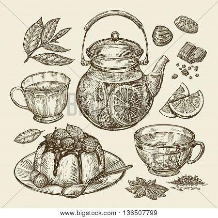 Food, dessert, drinks. Hand-drawn teapot, tea, coffee, cup pie pasty cake Sketch vector illustration