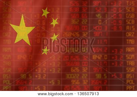 Flag Of China. Downtrend Stock Data Diagram