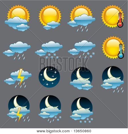 Vector glossy weather icons.