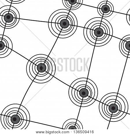 Seamless abstract pattern with black lines and circles on white background