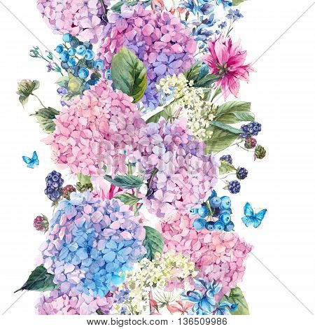 Summer Watercolor Vintage Floral seamless border with Blooming Hydrangea and garden flowers, Watercolor botanical natural hydrangea Illustration isolated on white