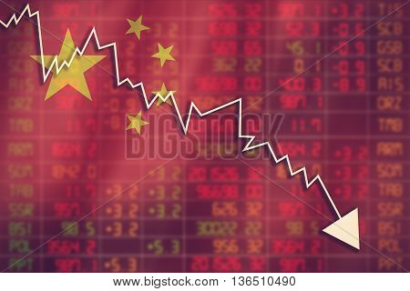 Flag Of China. Downtrend Stock Data Diagram Vintage Color