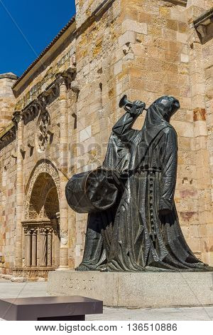 Zamora Spain - June 20 2016: Merlu easter statue in Church of San Juan Bautista in mayor square of Zamora . Castilla y Leon Spain.