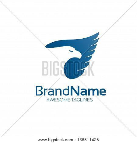 Elegant hawk. eagle phoenix bird logo concept