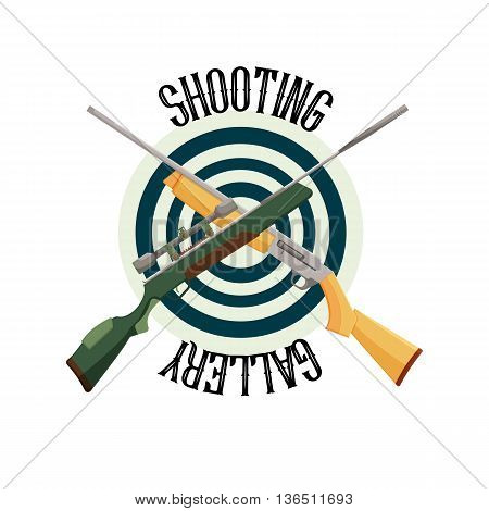logo shooting club. Label and badge emblem with weapon, vector illustration