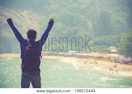 double exposure of athletic woman on the background of the sea. freedom and a healthy lifestyle. harmonious person outdoors. travel nature and vastness of the ocean. freedom