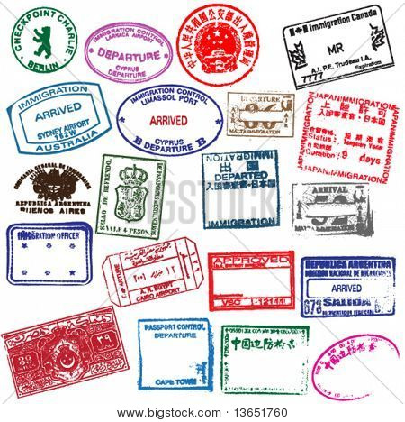 poster of Various visa stamps from passports from worldwide travelling. Vector.