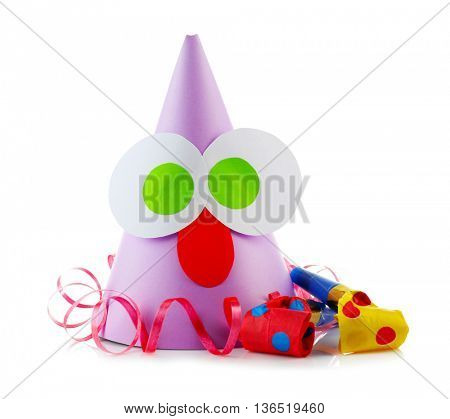 Funny party hat with blowers on a white background