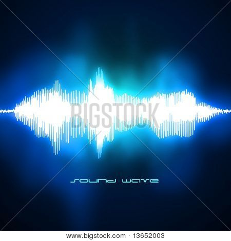 Sound waves oscillating on black background. Vector.