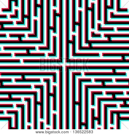 Maze 3D effect. Maze with chromatic aberration. Abstract vector background with a maze. Probably used for banners brochures flyers business cards envelopes letterheads. Vector illustration.