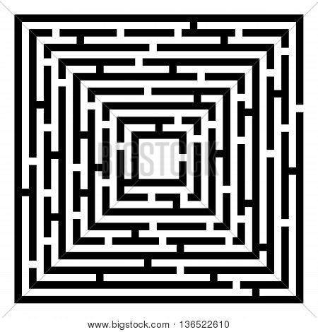 Silhouette of maze isolated on white background. Abstract vector background with a maze. Probably used for banners brochures flyers business cards envelopes letterheads. Vector illustration.
