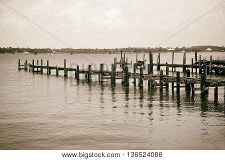 Pier and Boat Docks destroyed by Hurrican Katrina in Biloxi Mississippi