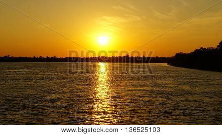 Sunset on the Zambezi River in Zambia