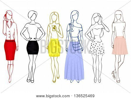 A set of sketches of girls in colorful skirts