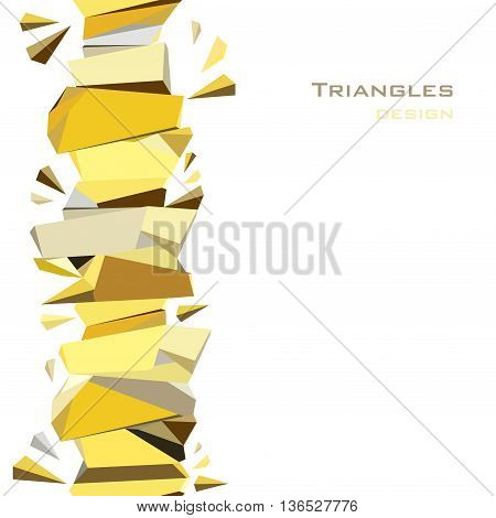 Vertical gold border geometric design. Golden crystal geometric abstract triangles border design on white background. Golden abstract geometric background. Golden vector illustration stock vector.